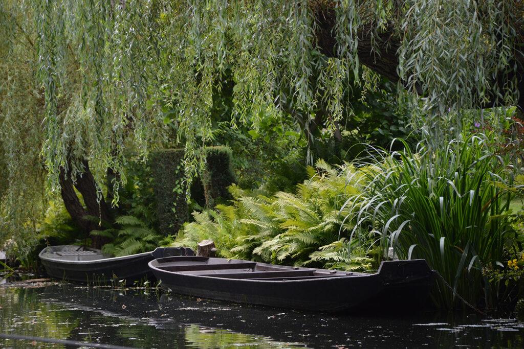 Wasserkanal mit zwei Booten umgeben von dichten Bäumen und Büschen